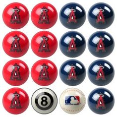 This MLB Home Vs. Away Pool 8-Ball Set brings the game from the grid-iron to your pool table! All MLB team logos and colors are precisely reproduced onto each Belgian Aramith Billiard Ball. Belgin Aramith balls are considered the finest in the industry and have been the BCA's billiard ball sets of choice for decades. Makes a unique gift for the NFL fan in your life. Features true Belgian Aramith 2 1/4 tournament quality billiard balls (finest in industry), 7 balls designed in primary team… All Mlb Teams, Mlb Team Logos, Nfl Fans, Pool Table, Game Room, Unique Gifts, Angels, Colors, Design