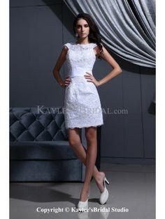 Satin Jewel Neckline Mini Sheath Wedding Dress with Embroidered