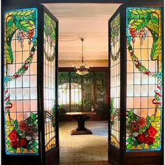 Gorgeous stained glass doors in Casa Navás, Spain