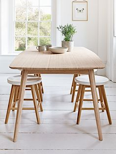 Our stunning Aalto range combines Scandinavian design, sustainability and quality for a timeless and stylish collection that is suitable for all spaces in your home. Our Aalto dining set has been crafted from carbonised bamboo and includes a large rectangular dining table and four low stools. Each item in the set includes slim tapered legs, and our low stools have a carefully carved wide seat with painted white finish. Perfect for your kitchen or dining space, this eye catching set will…