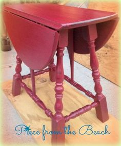 Painted table with Annie Sloan Chalk paint in Burgundy by Tracey at Piece from the Beach Chalk Painting, Painting Furniture, Furniture Projects, Furniture Makeover, Burgundy Paint, Painted Tables, Drop Leaf Table, Trash To Treasure, Kitchen Tables