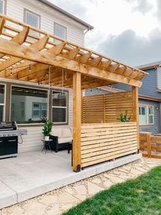 Diy Pergola, Building A Pergola, Outdoor Pergola, Cedar Pergola, Privacy Wall Outdoor, Outdoor Patios, Outdoor Fire, Pergola Ideas, Patio Ideas