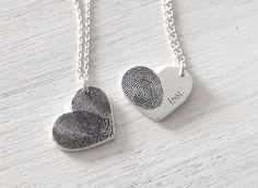 Personalized Fingerprint Necklaces - Such a sweet idea <3