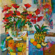 SOLD: 'Still Life with a Vase of Roses', 60cm x 60cm