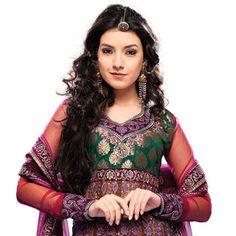 Multicolour Net Anarkali Churidar Kameez With Dupatta