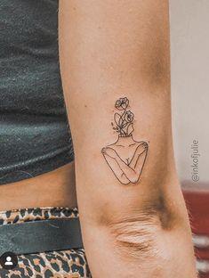 Self love Fine Line tattoo by Simple Line Tattoo, One Line Tattoo, Line Art Tattoos, Small Tattoos, Tatoos, Enough Tattoo, Tattoos Geometric, Abstract Tattoos, Self Love Tattoo