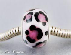 Pink Leopard European Charm Bead with Sterling Core, handmade by www.LoriBergmann.etsy.com