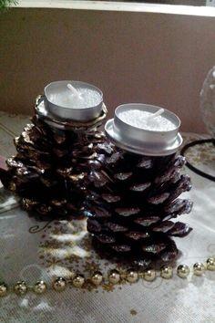 Porta velas de natal com pinha - by L.F.