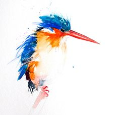 Contemporary Limited Edition print of my original watercolour painting 'KINGFISHER'