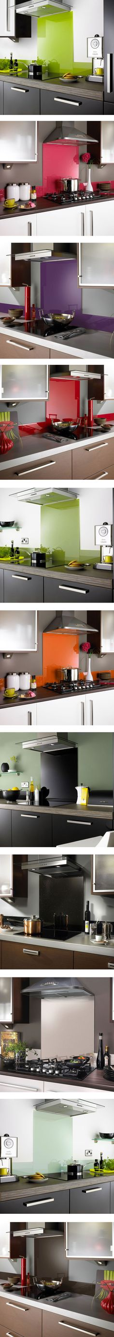 Splashbacks! An exciting new range of glass kitchen splashbacks in a spectrum of striking colours and designs to add a bright and unique finish to your kitchen and cooking area. Bold colours to shimmering metalilics and eye-catching sparkles!