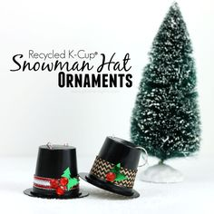 Recycled+K-Cup+Snowman+Hat+Ornaments