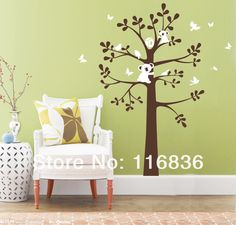 Free Shipping new 2014 decorative large tree bear vinly decals for nursery Wall Stickers Decoration remove sticker 122*150CM-in Wall Stickers from Home & Garden on Aliexpress.com | Alibaba Group