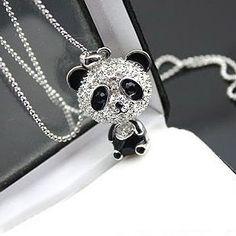 "NEW Silver chain 16/"" 18/"" 20/"" Panda Charm Necklace World Wildlife Fund WWF Bear"