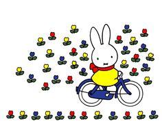 Nijntje fiets door het bloemenveld.