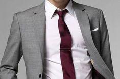 grey suit red tie