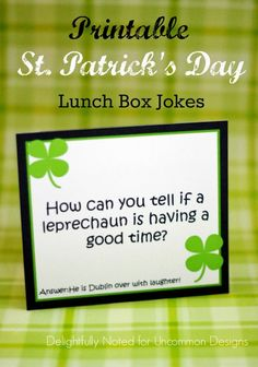 Free Printable Lunch Box Jokes for St. Patrick's Day www.uncommondesignsonline.com