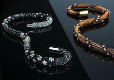 Brigitte llander of Solidbeads.  Swarovski crystals used in the bead crochet pattern.