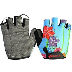 BOODUN Unisex Cycling Gloves Blue Flower Medium *** Be sure to check out this awesome product.