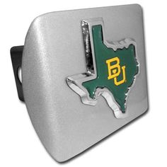 Baylor University Green State Shape Bruched Chrome Hitch Cover