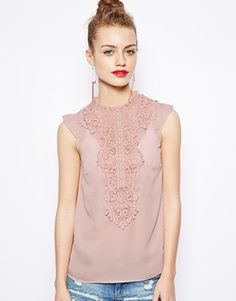 Image 1 ofNew Look Crochet Insert High Neck Top (NOTE: blush/peach top -- want one that is longer in back)