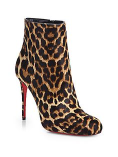 Christian Louboutin Fifi Leopard-Print Calf Hair Ankle Boots. I know...Red sole = Hooker. Well, I'll be a faux hooker!
