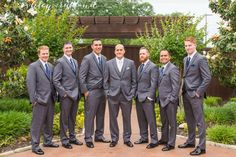 Northeast Wedding Chapel | Walters Wedding Estates | Fort Worth Wedding Venue | Hurst | Wedding Day | Groom | Groomsmen | Outside | Gray Suits