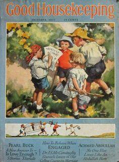 1937 Good Housekeeping Magazine ~ Kids with Treasure Map, Vintage Magazine Covers Old Magazines, Vintage Magazines, Vintage Books, Antique Books, Vintage Advertisements, Vintage Ads, Vintage Posters, Images Vintage, Vintage Pictures