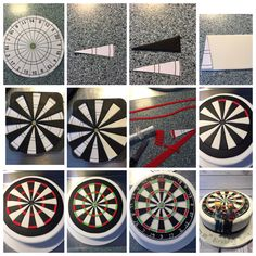Dartboard Cake Tutorial  1. Find a suitable template (there are loads online) and print it out 2. Cut out one segment to use as your cutting guide  3. Start with the cream sugarpaste. Roll into a strip (long and wide enough to get 10 triangles 4. Repeat using black sugarpaste  5. Using your template as a guide, piece together your segments and once you're happy transfer onto your cake 6. Now using red and green sugarpaste, roll and cut out long thin strips and cut down to size using your…