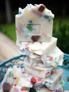 Pretty colors of soap chunks. Nume soaps.