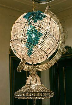 Bohemian crystal world globe chandelier by Hans Van Benthem realized by Rock and Royal #lampadario #lustre #interiordesign - More wonders at www.francescocatalano.it