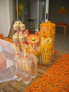 Lion Party decor - orange drinks, orange chips, mango strips, oranges, etc. Lion Birthday Party, Lion Party, 1st Boy Birthday, 1st Birthday Parties, Party Themes, Party Ideas, Orange Drinks, Lions, First Birthdays