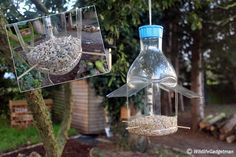 """""""And another bird feeder for Big Garden using a recycled bottle. Make A Bird Feeder, Bird Feeders, Recycled Crafts, Recycled Materials, School Science Projects, Mens Gadgets, Garden Shower, Big Garden, Plastic Bottles"""
