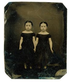 """Tissy and Mary White    This is a tintype found at a flea-market. Or maybe it was eBay. Caption reads """"Tissy  Mary White (Twins)"""""""