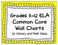 These colorful wall charts are a great way to display daily learning objectives. This document contains EVERY Common Core ELA Standard! The Literature, Informational, Writing, Speaking and Listening, and Language Standards are all in this one 84-page document! Each subcategory is color-coded for ease of use.