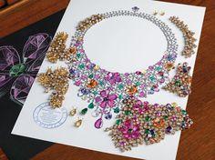 Bvlgari. Diseño para el collar de oro con zafiros de varios colores, granates de color mandarina, esmeraldas y diamantes