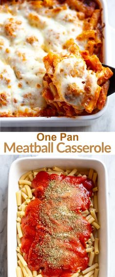 This AMAZING One Pan Meatball Casserole is an easy, dump it and forget it dinner everyone loves! I've included options for making it in the slow cooker, instant pot, and as a freezer meal! via Recipes pasta One Pan Meatball Casserole Meatball Casserole, Meatball Bake, Meatball Meals, Pasta Casserole, Great Recipes, Dinner Recipes, Favorite Recipes, Yummy Recipes, Freezer Meals