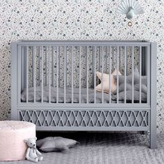 Decorate the childrens room with this refined baby bed inspired by the iconic diamond-shaped pattern. Customise the bed according to the childs developmental stage and transform from a baby bed to a cot by removing the outer side panel. Cot Bedding, Grey Bedding, Nursery Furniture, Kids Furniture, Cheap Furniture, Furniture Online, Furniture Stores, Nursery Decor, Furniture Sets