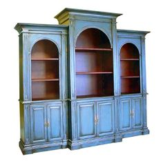 ENGLISH LARGE LIBERTY BREAKFRONT CARVED MAHOGANY DISPLAY CABINET BOOKCASE