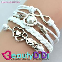 Braided Leather Bracelet - Fashionably elegant modern charm bracelet with a wide color contrast thats definitely shows your on-trend look and unique sense of fashion taste.