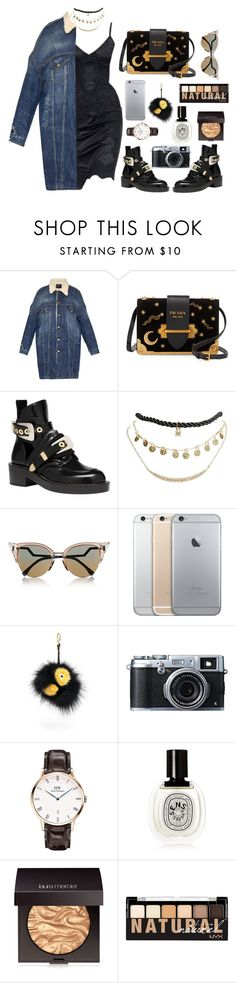 """""""out of sight"""" by millicent4 ❤ liked on Polyvore featuring R13, Prada, Balenciaga, Wet Seal, Fendi, Fujifilm, Daniel Wellington, Diptyque, Laura Mercier and NYX"""