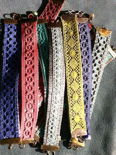 Use flat lace to make choker necklaces. Sew beads or hang dangles in the center.