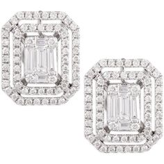 Platinum Heart Emerald-Cut Diamond Earrings with Illusion Setting and…