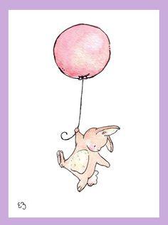Children Art Print. Floating Bunny and Balloon. PRINT 5X7.  Nursery Art Home Decor. $12.00, via Etsy.