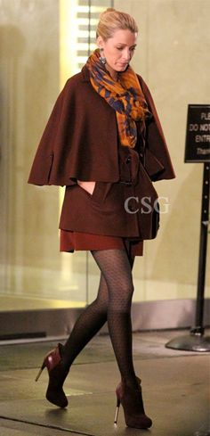 """Exclusive From The Set! Thanks to the amazing costume department at Gossip Girl I was able to get the scoop on yet another great Serena van der Woodsen outfit! Blake Lively wore a Burberry Prorsum Wool Cape, Theodora & Callum Jackson Hole Infinity Scarf and Sigerson Morrison Baladi Platform Booties on the set of """"Gossip Girl"""" on Tuesday (October 2) in New York City."""