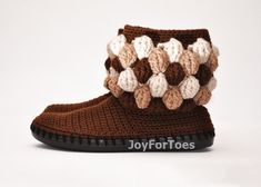 #Chocolate #Crochet #Women #Boots #Slippers for the by #JoyForToes
