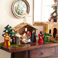 Wisteria - Holiday - Holiday Decor - Trim a Home -  Handmade Felt Nativity - Stable - Set of 12 - $129.00