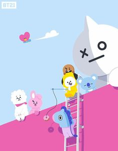 BROWN PIC is where you can find all the character GIFs, pics and free wallpapers of LINE friends. Come and meet Brown, Cony, Choco, Sally and other friends! Bts Chibi, Pokemon, Pikachu, Cartoon Wallpaper, Bts Wallpaper, Iphone Wallpaper, Bt 21, Les Bts, Line Friends