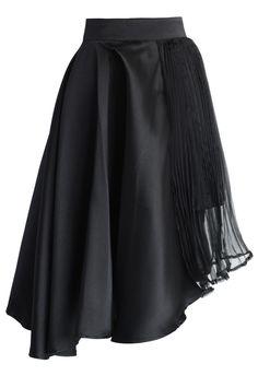 Eternal Flame Asymmetric Skirt in Black