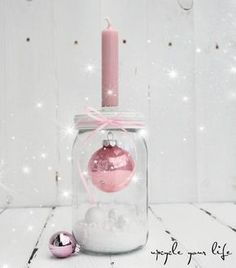 sphere in glass .- kugel im glas… kerzenhalter deko… sphere in glass … candleholder decoration … - Decoration Christmas, Noel Christmas, Pink Christmas, Christmas Is Coming, Xmas Decorations, Christmas And New Year, Winter Christmas, All Things Christmas, Christmas Crafts