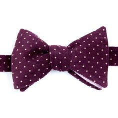 Nœud papillon Velours Violet White dots on purple velvet Japanese bow tie